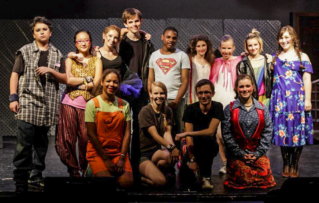 Cast and crew of Godspell performance at Camp Ballibay Performing Arts Camp in Pennsylvania, USA