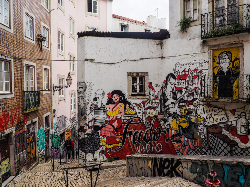 Fado street art in the Alfama neighbourhood of Lisbon, Portugal