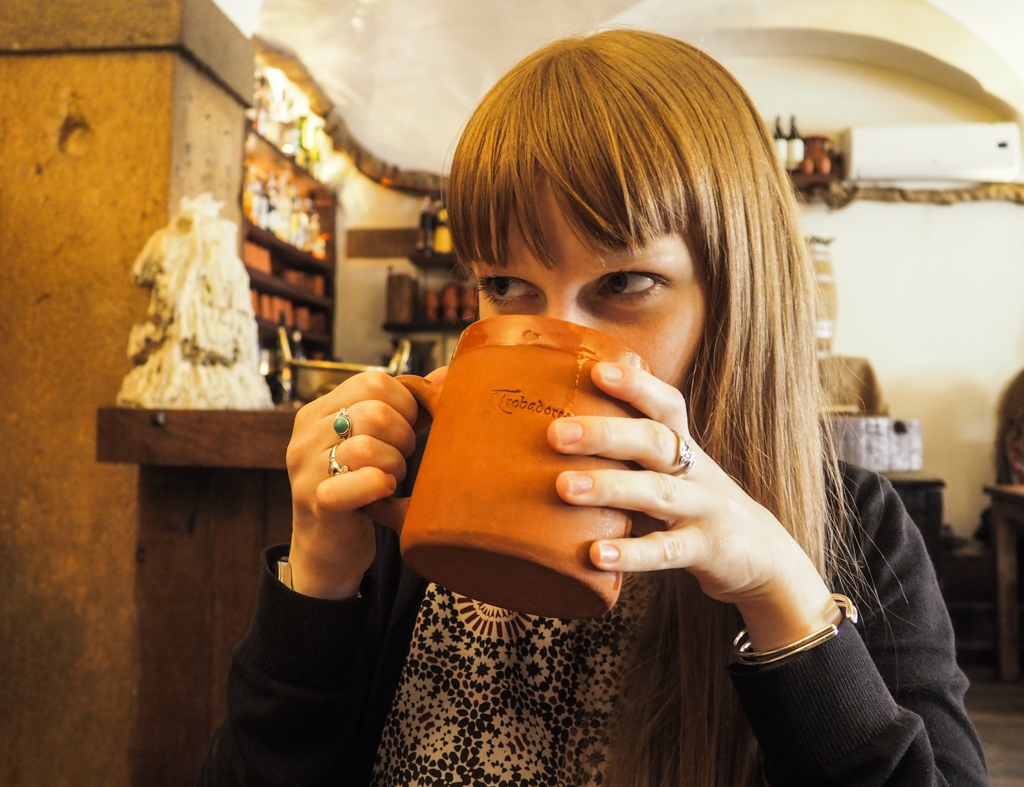 Almost Ginger blog owner in Trobadores - Taberna Medieval Pub in Lisbon, Portugal | 3 Days in Lisbon Itinerary
