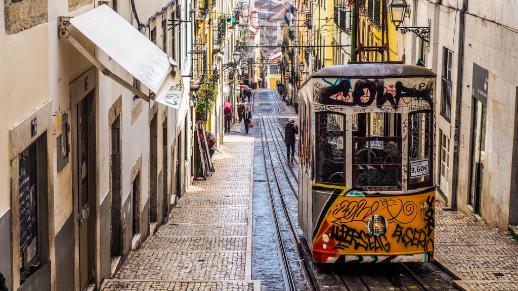 Elevador da Bica yellow tram in Lisbon, Portugal