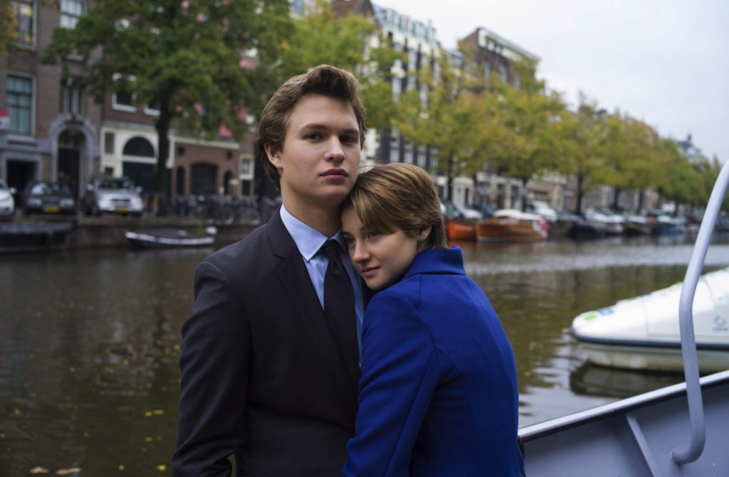 The Fault in Our Stars (2014) Hazel and Gus hugging in Amsterdam