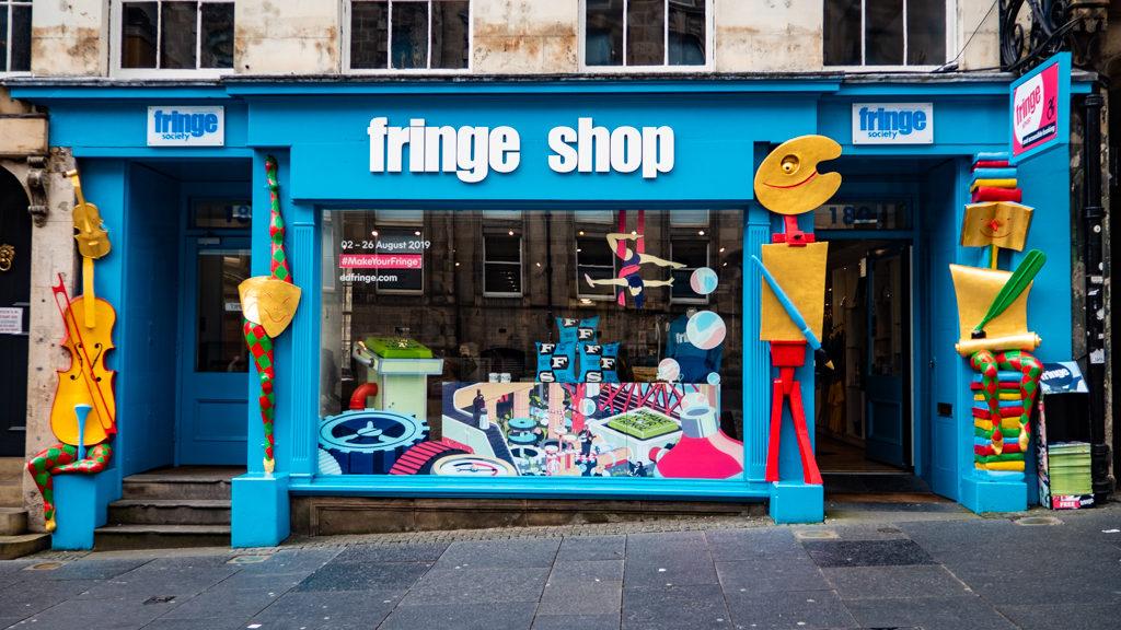 Edinburgh Fringe Festival Shop on the Royal Mile in Scotland, UK