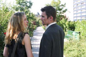 Before Sunset (2004) film still of Celine and Jesse walking on Promenade Plantee in Paris