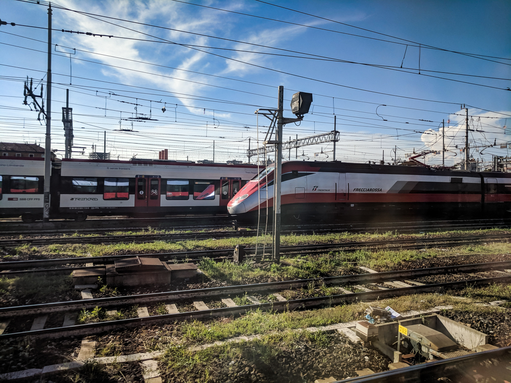 Frecciarossa trains outside Milan Centrale Train Station in Milan, Italy