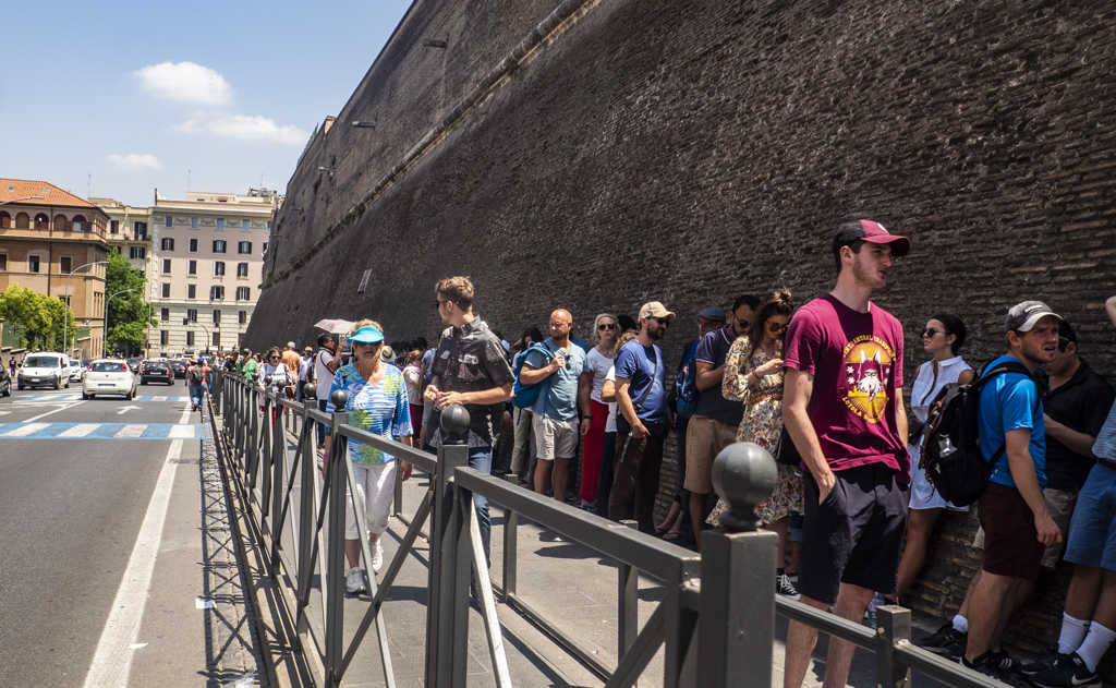 Queue for the Vatican Museums in Vatican City near Rome, Italy