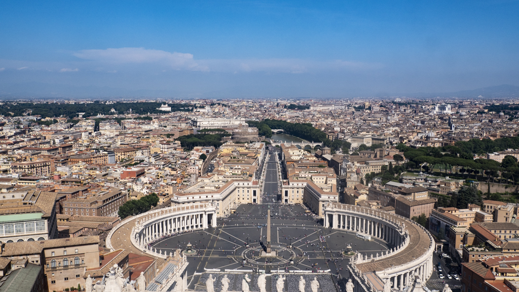 View of St Peter's Square from St Peter's Basilica Dome in Vatican City near Rome, Italy | 3 Days in Rome Itinerary