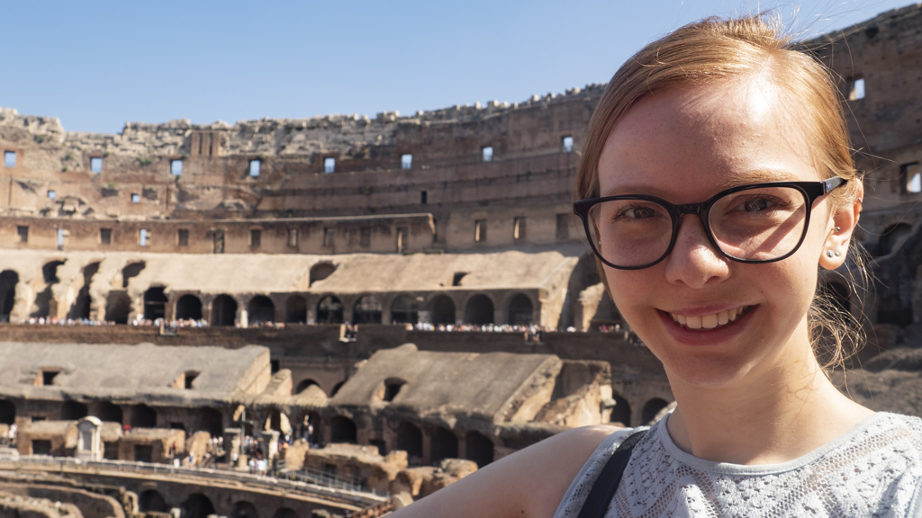Almost Ginger blog owner at the Colosseum in Rome, Italy | 3 Days in Rome Itinerary