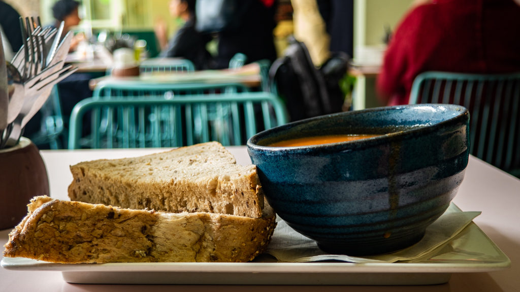 Soup and bread from Hula Juice Bar in Edinburgh