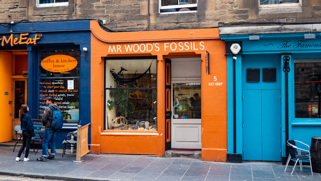 Mr Wood's Fossils shop in Grassmarket, Edinburgh