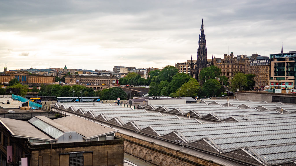 Edinburgh Waverley Station and Scott Monument in Edinburgh