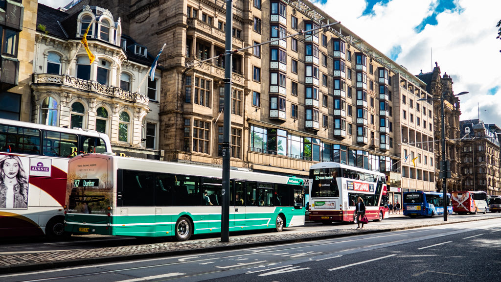 Buses on Princes Street in Edinburgh