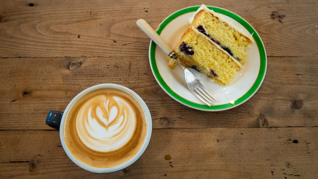 Latte and lemon cake from Lovecrumbs in Edinburgh