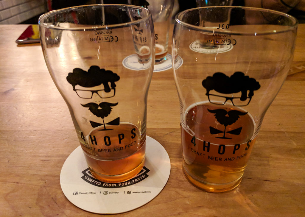 Tasting beers in 4Hops, a Craft Beer Bar in Wrocław, Poland