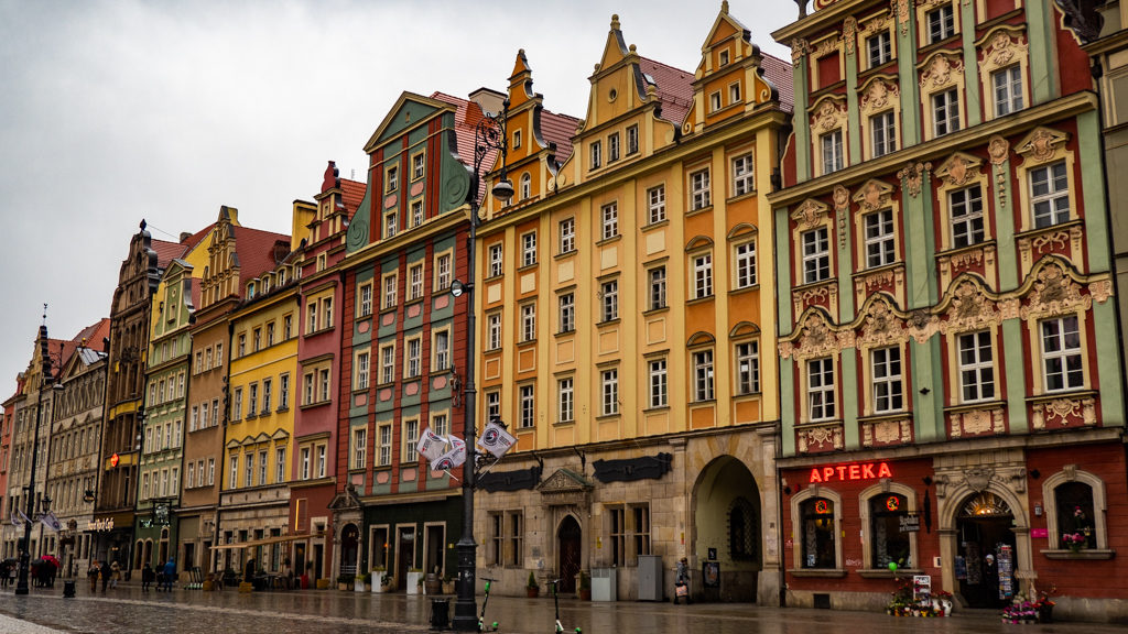 Colourful buildings in the Market Square in Wrocław, Poland