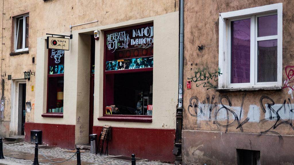 Exterior of Vinyl Café in Wrocław, Poland