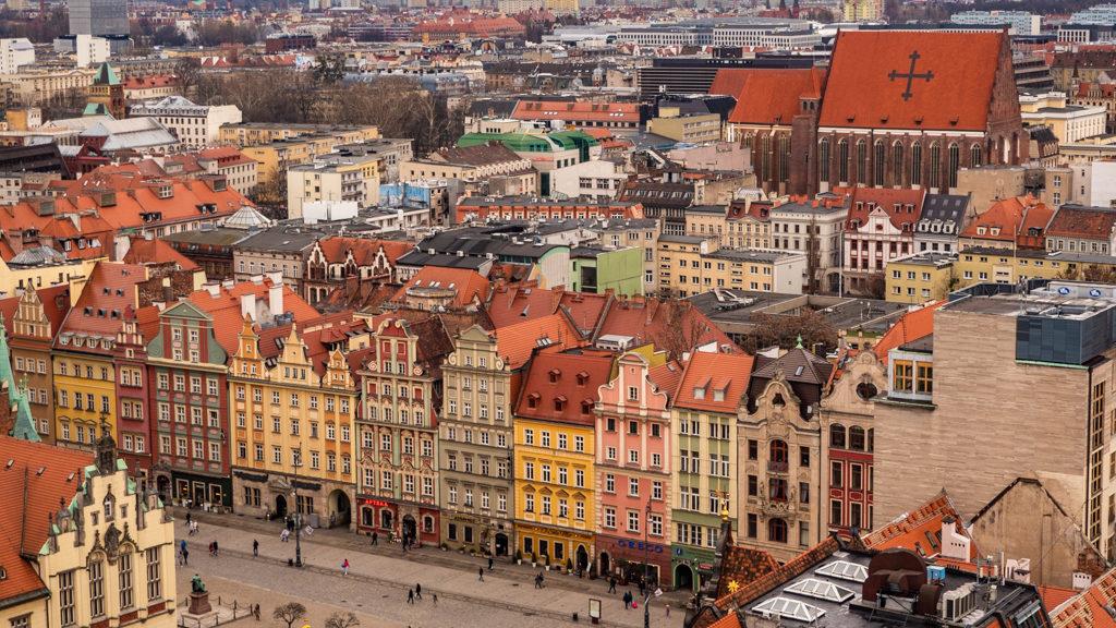 View of Wrocław's Market Square from St Elizabeth's Church in Wrocław, Poland, how to spend 48 Hours in Wrocław, Poland