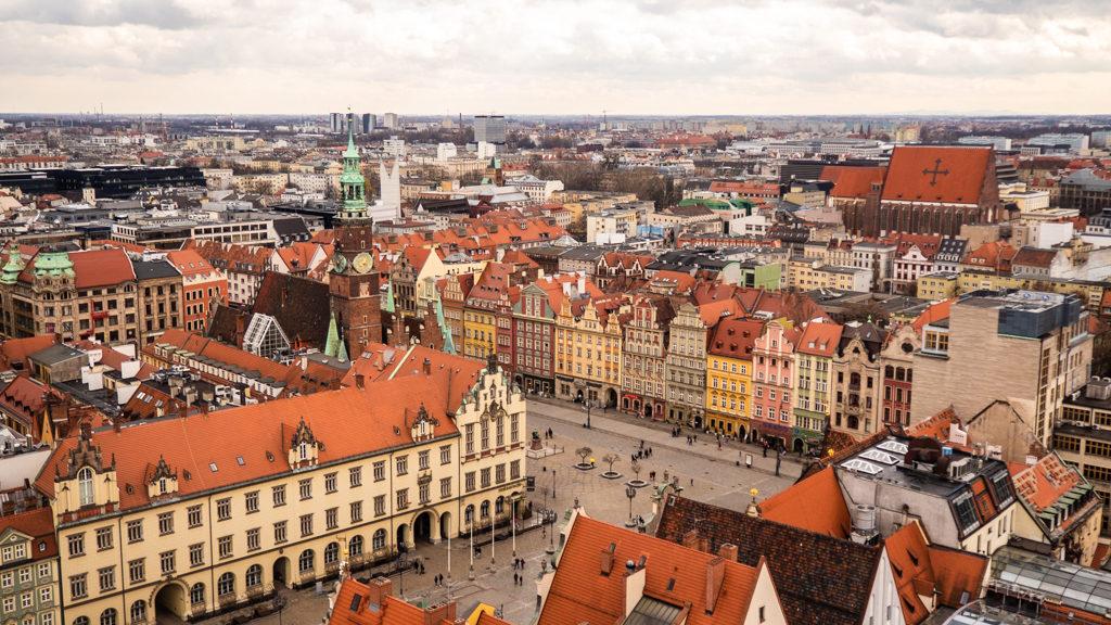 View of Wrocław's Market Square from St Elizabeth's Church in Wrocław, Poland