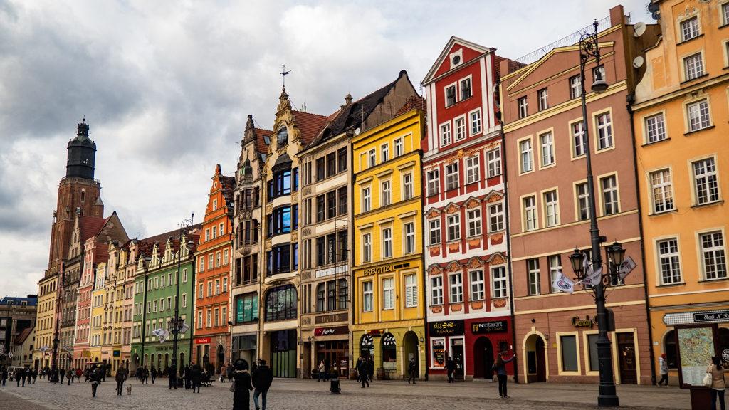 Wrocław Market Square and St Elizabeth's Church in Wrocław, Poland