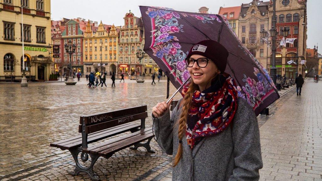 Almost Ginger blog owner in Wrocław's Market Square in Wrocław, Poland, how to spend 48 Hours in Wrocław, Poland