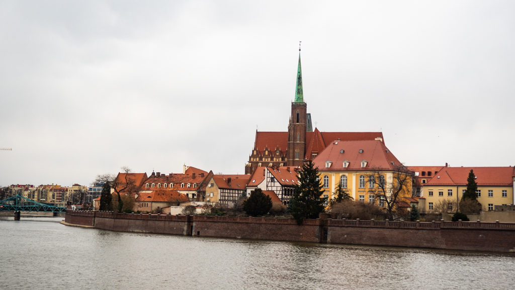 View of Cathedral Island across the river Oder in Wrocław, Poland