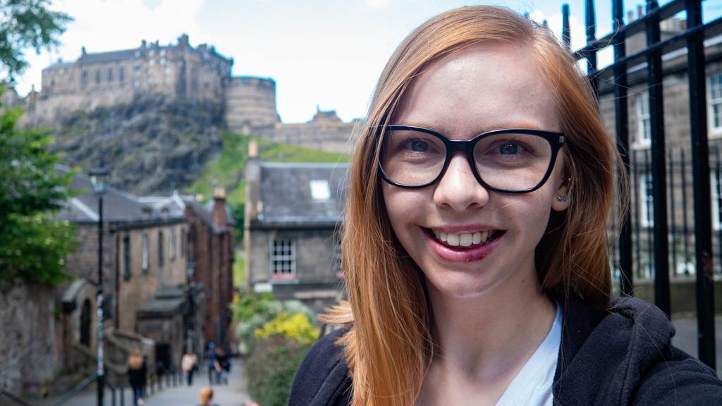 Almost Ginger blog owner next to Edinburgh Caste in Scotland, UK