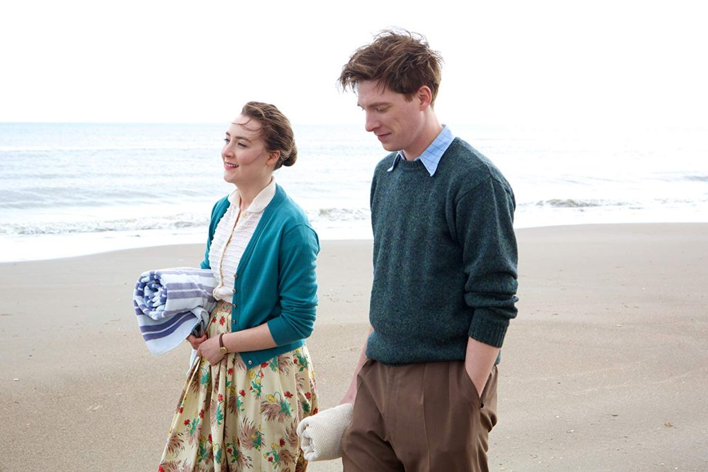 Eilis and Jim walking along Curracloe Beach in County Wicklow, Ireland, a Brooklyn filming location