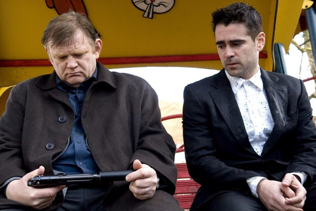 Ken (Brendan Gleeson) and Ray (Colin Farrell) in Koningin Astridpark in Bruges, Belgium one of the In Bruges filming locations