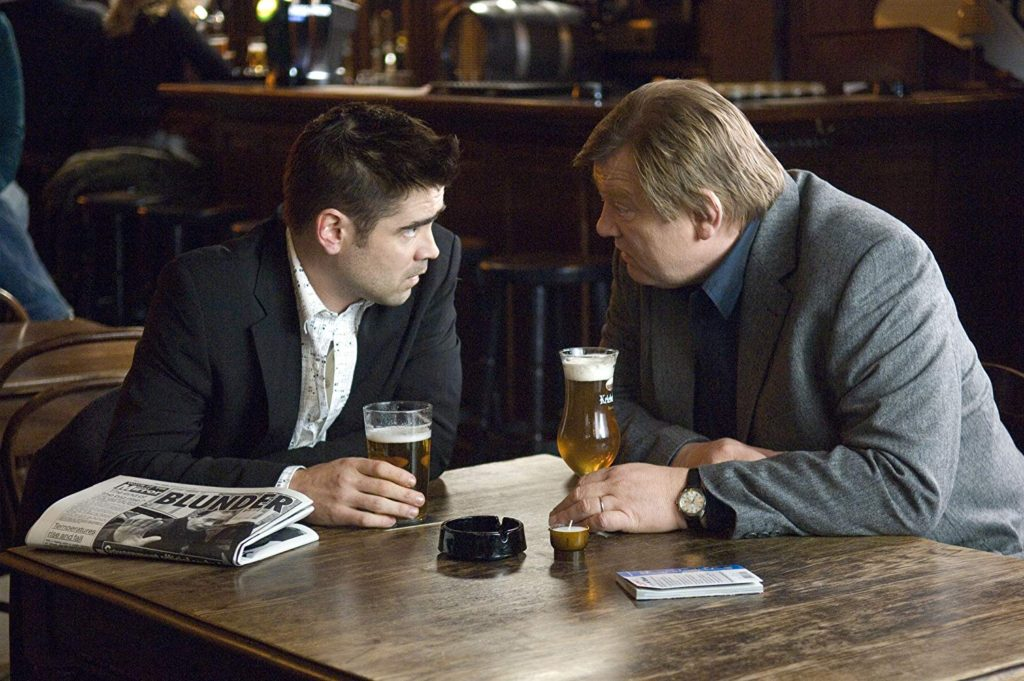 Ray (Colin Farrell) and Ken (Brendan Gleeson) drinking Belgian beer in a pub in Bruges one of the In Bruges filming locations
