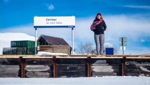 Almost Ginger blog owner on Corrour Train Station Platform in Corrour, Scotland, as seen in Trainspotting