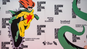 Red Carpet Background at Glasgow Film Festival 2020 in Glasgow, Scotland
