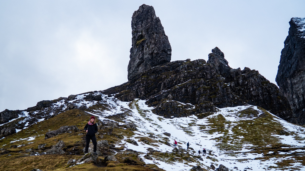 Almost Ginger blog owner at The Old Man of Storr on the Isle of Skye, Scotland