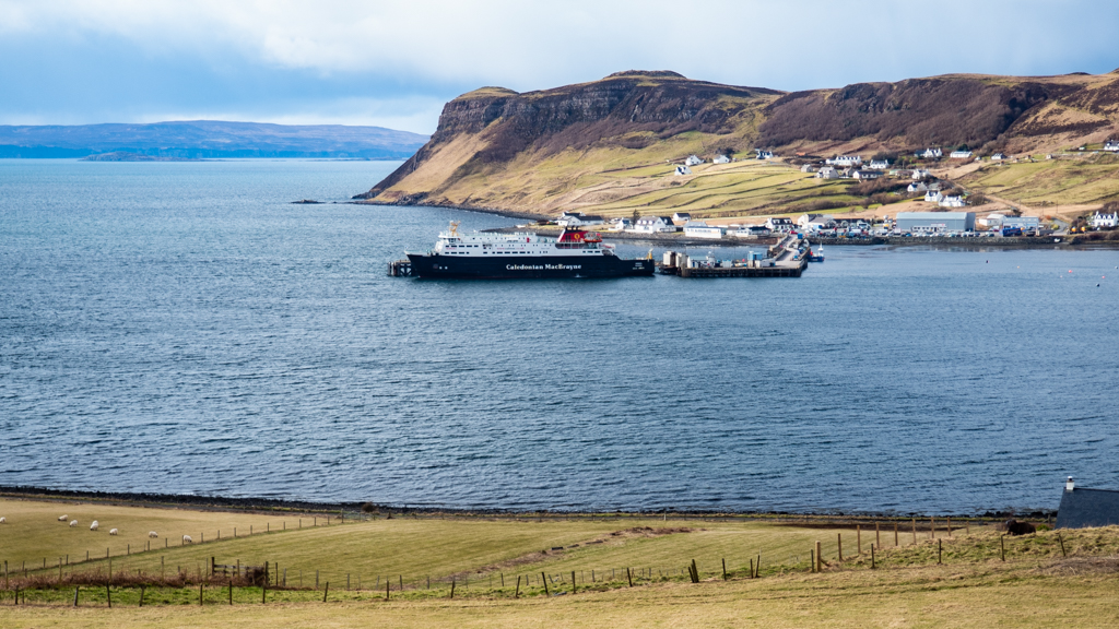 Lewis and Harris ferry pulling out of Uig Pier on the Isle of Skye, Scotland