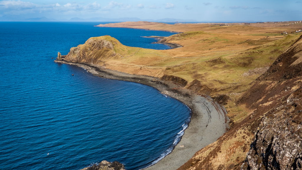 View of the black beach from Uig Cliff on the Isle of Skye, Scotland