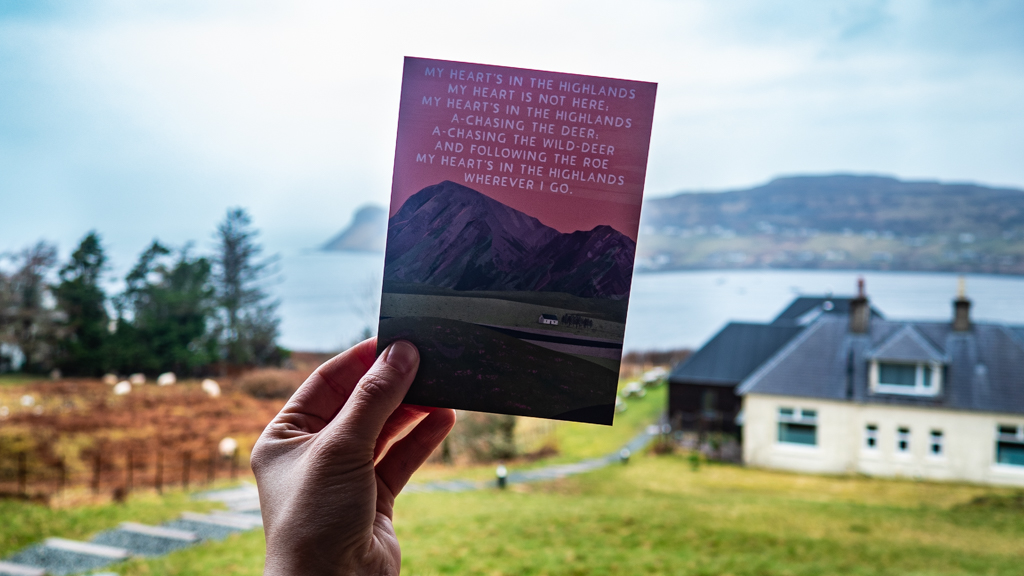 Greetings card about the Highlands in Scotland