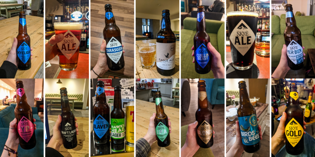 Compilation of beers, mainly Isle of Skye Brewing Co. beers