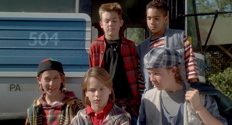 Camp Nowhere (1994) still still of five campers alighting a bus