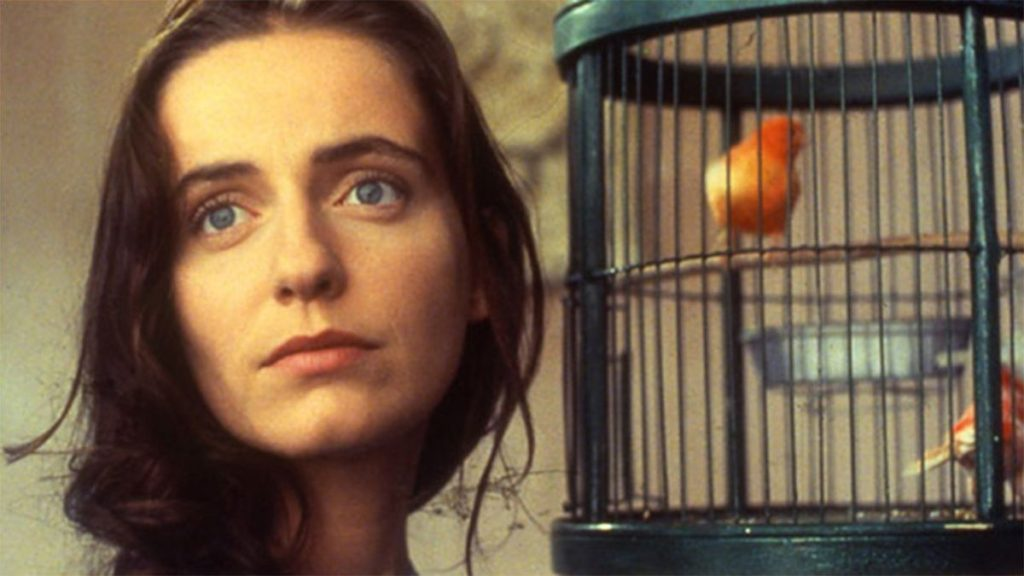 Still of a woman and a birdcage from the Portuguese film Abraham's Valley (1983)