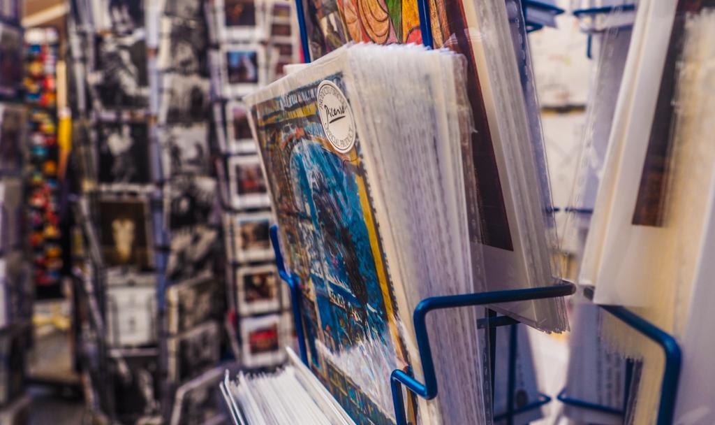 Postcard stands in Málaga, Spain