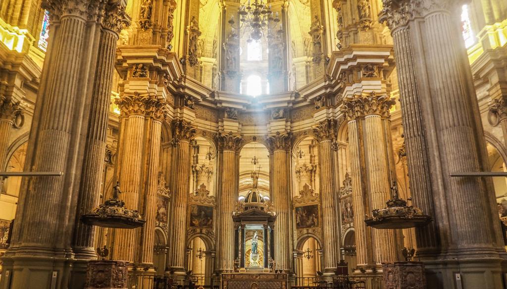 Interior of Catedral de la Encarnación de Málaga exterior in Málaga, Spain