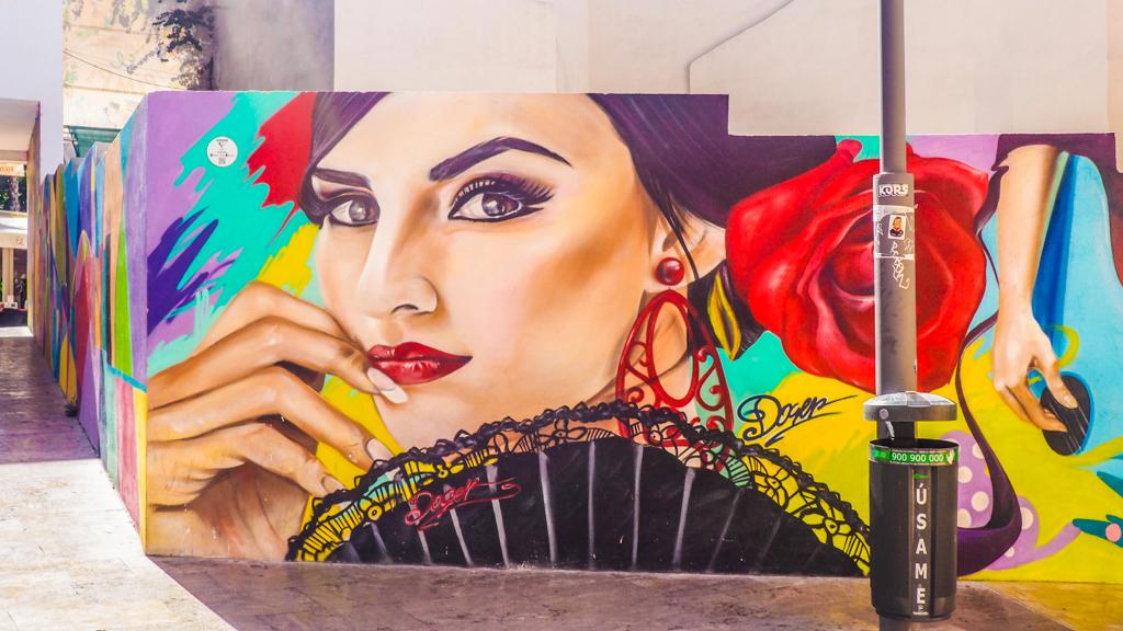 Flamenco inspired street art in Málaga, Spain