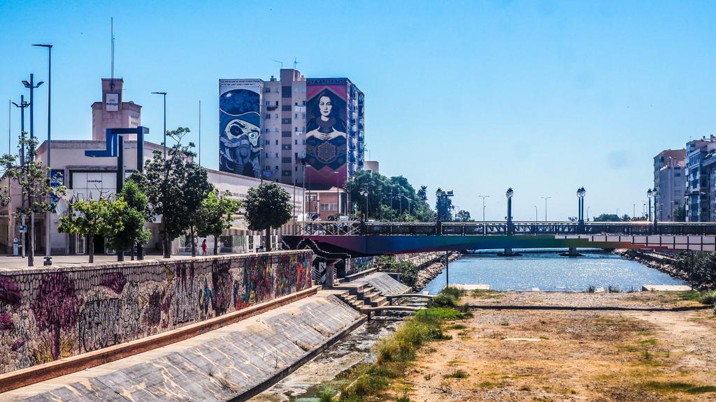 Street art and bridge in Málaga, Spain