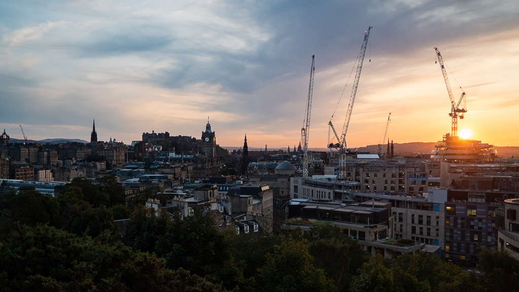 View from Calton Hill in Edinburgh at sunset