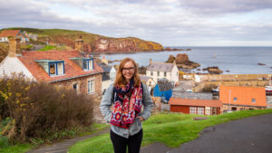 Almost Ginger blog owner at St Abbs in Scotland