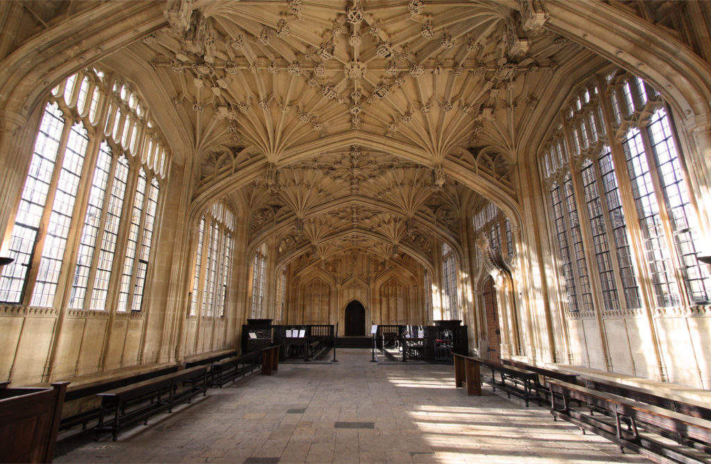 The Divinity School in the Bodleian Library, University of Oxford in England