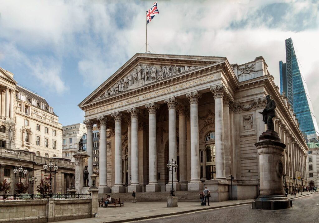 Royal Exchange Buildings in Cornhill, London in England