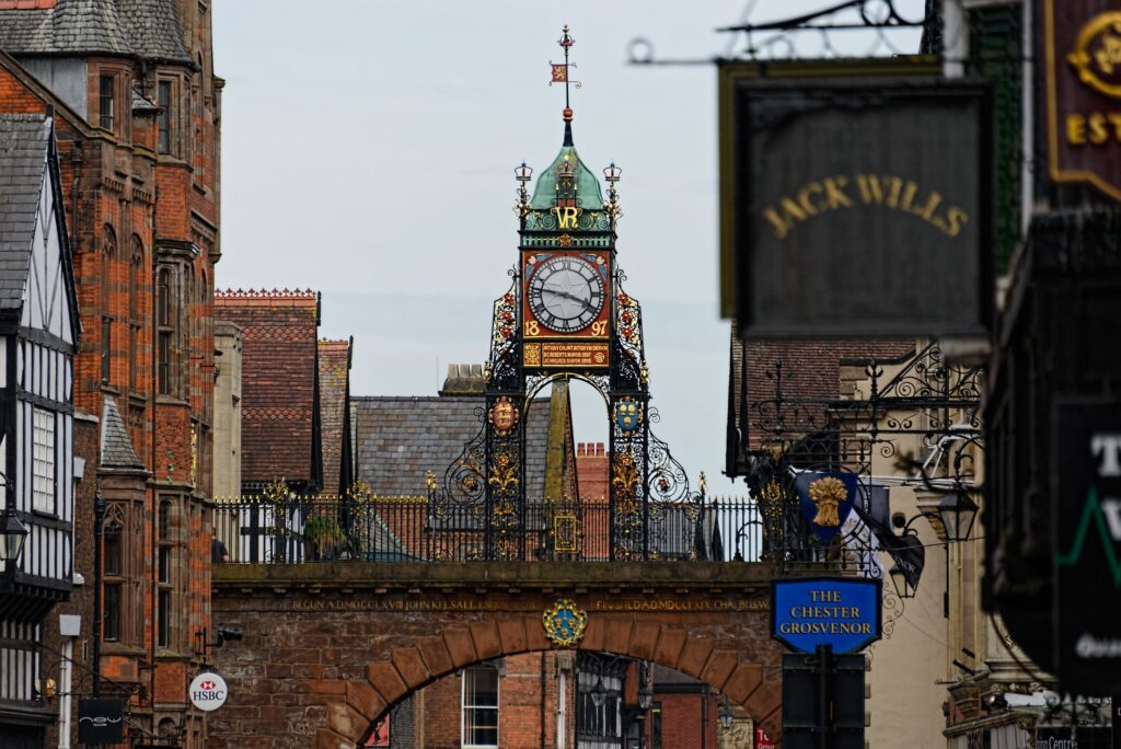 Eastgate Clock in Chester, Cheshire in the UK 24 Hour Party People Filming Location