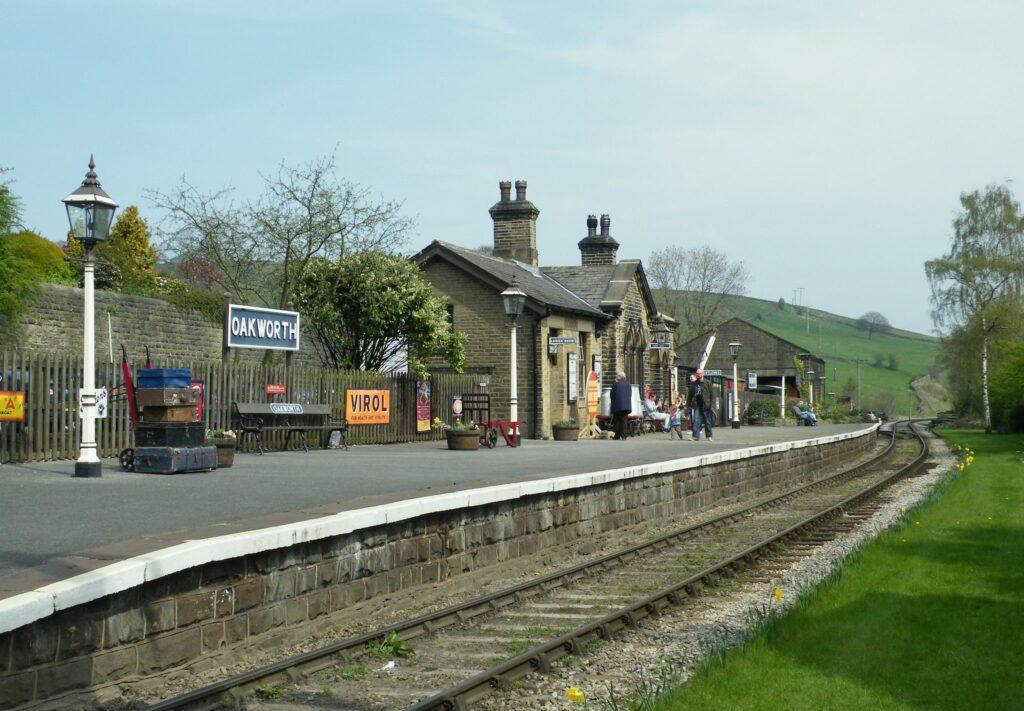 Oakworth Station in Bradford, West Yorkshire in England